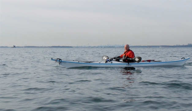 """The maiden voyage of Alistair's new kayak AND snazzy red drysuit, recently replaced by the manufacturer. Alistair drove a couple of hours for the pleasure of our company and """"going to Long Island without paying tolls."""""""