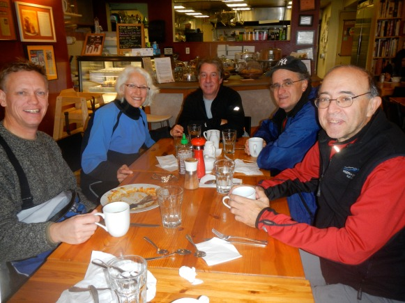 Sugar & Spice is tile-floor,  kayaker-friendly. Jim, Michele, Rick, David, and Alan (the smartest guy in the room—he arrived by car!)