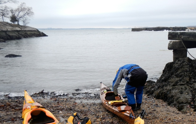 Jim prepares his beautiful Jim-made Pygmy kayak for launch