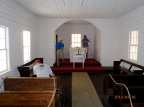 The simple one-room church has 11 handmade pews and three windows on each side. Today it is maintained by the National Park Service.