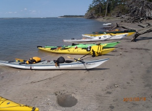 We arrived at our first campsite, Brickhill Bluff. No facilities here except for a well (you must treat the water). Also, no bellhops! We unloaded and carried supplies and kayaks up the sandy banks (tides, you know).