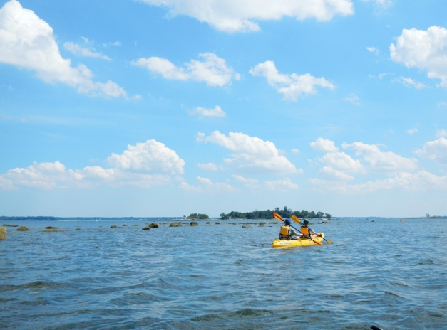 Paddling near rocky Middle Ground to avoid motorboats
