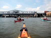 3:01 p.m. After navigating eddies and whirlpools in the East River, we approached the calm Harlem River