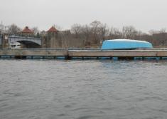 Glen Island: Blue boat on a blue pier