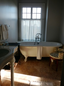 Our room's clawfoot tub. Ah, the nostalgia one can feel for indoor plumbing...