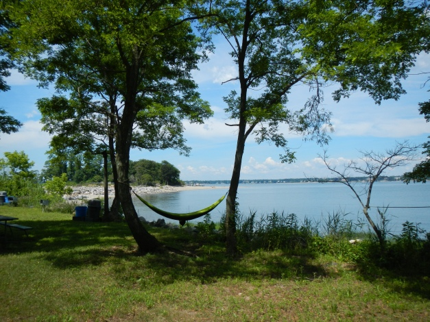 Lifeguards' hammock faces the beach, mooring field and Greenwich, CT