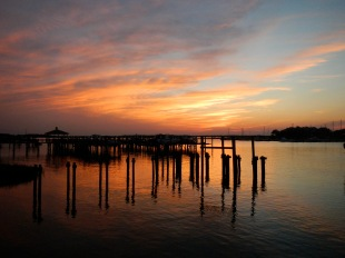 Sunset over the Folly River, South Carolina
