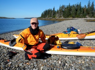 Jean's new drysuit. Penobscot Bay, Maine