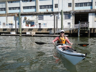 Jean at Pier 40 and NY Kayak, the Tiderace's hometown